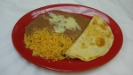 Quesadilla - Served with rice and beans.